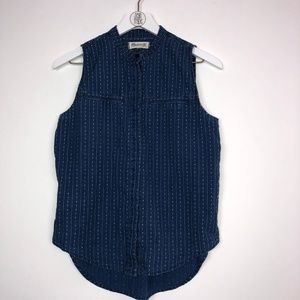 Madewell Sleeveless Chambray Shirt in Woven Stripe